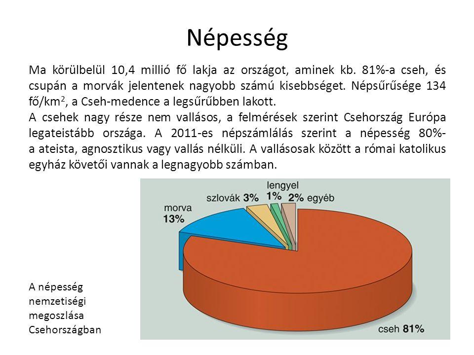 Ma körülbelül 10,4 millió fő lakja az országot, aminek kb. 81%-a cseh, és csupán a morvák jelentenek nagyobb számú kisebbséget. Népsűrűsége 134 fő/km