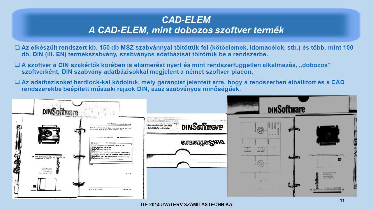 ITF 2014 UVATERV SZÁMÍTÁSTECHNIKA 11 CAD-ELEM A CAD-ELEM, mint dobozos szoftver termék  Az elkészült rendszert kb.