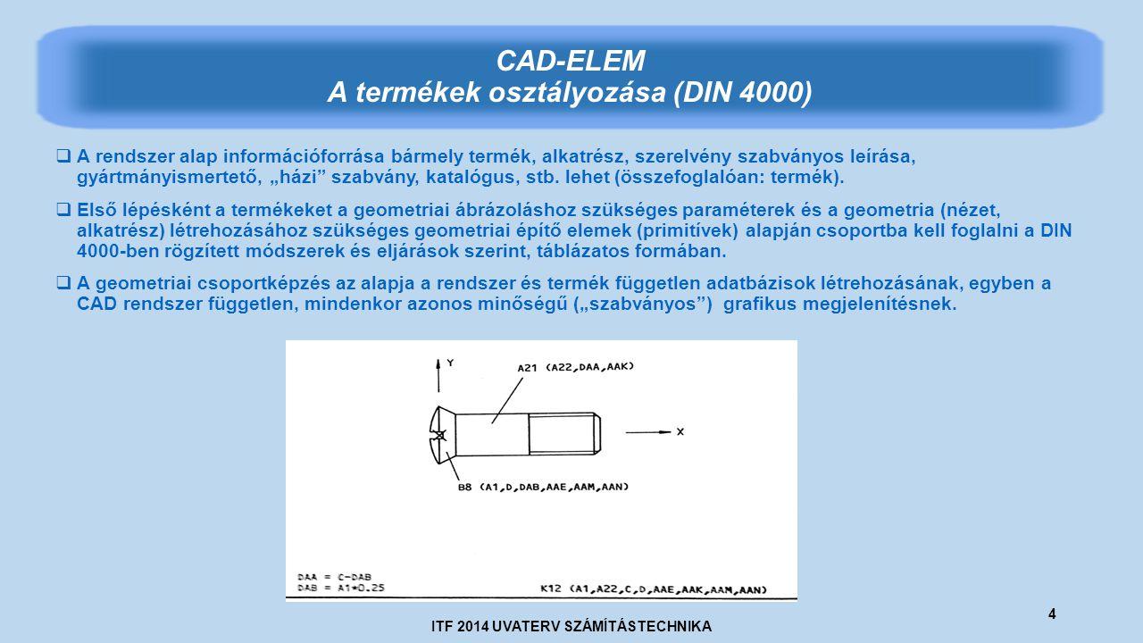 """ITF 2014 UVATERV SZÁMÍTÁSTECHNIKA 4 CAD-ELEM A termékek osztályozása (DIN 4000)  A rendszer alap információforrása bármely termék, alkatrész, szerelvény szabványos leírása, gyártmányismertető, """"házi szabvány, katalógus, stb."""