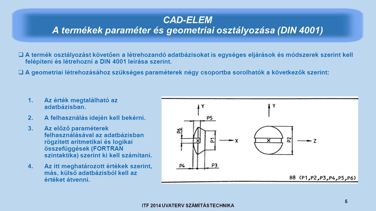 ITF 2014 UVATERV SZÁMÍTÁSTECHNIKA 5 CAD-ELEM A termékek paraméter és geometriai osztályozása (DIN 4001)  A termék osztályozást követően a létrehozandó adatbázisokat is egységes eljárások és módszerek szerint kell felépíteni és létrehozni a DIN 4001 leírása szerint.