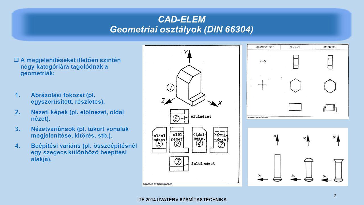 ITF 2014 UVATERV SZÁMÍTÁSTECHNIKA 7 CAD-ELEM Geometriai osztályok (DIN 66304)  A megjelenítéseket illetően szintén négy kategóriára tagolódnak a geometriák: 1.Ábrázolási fokozat (pl.
