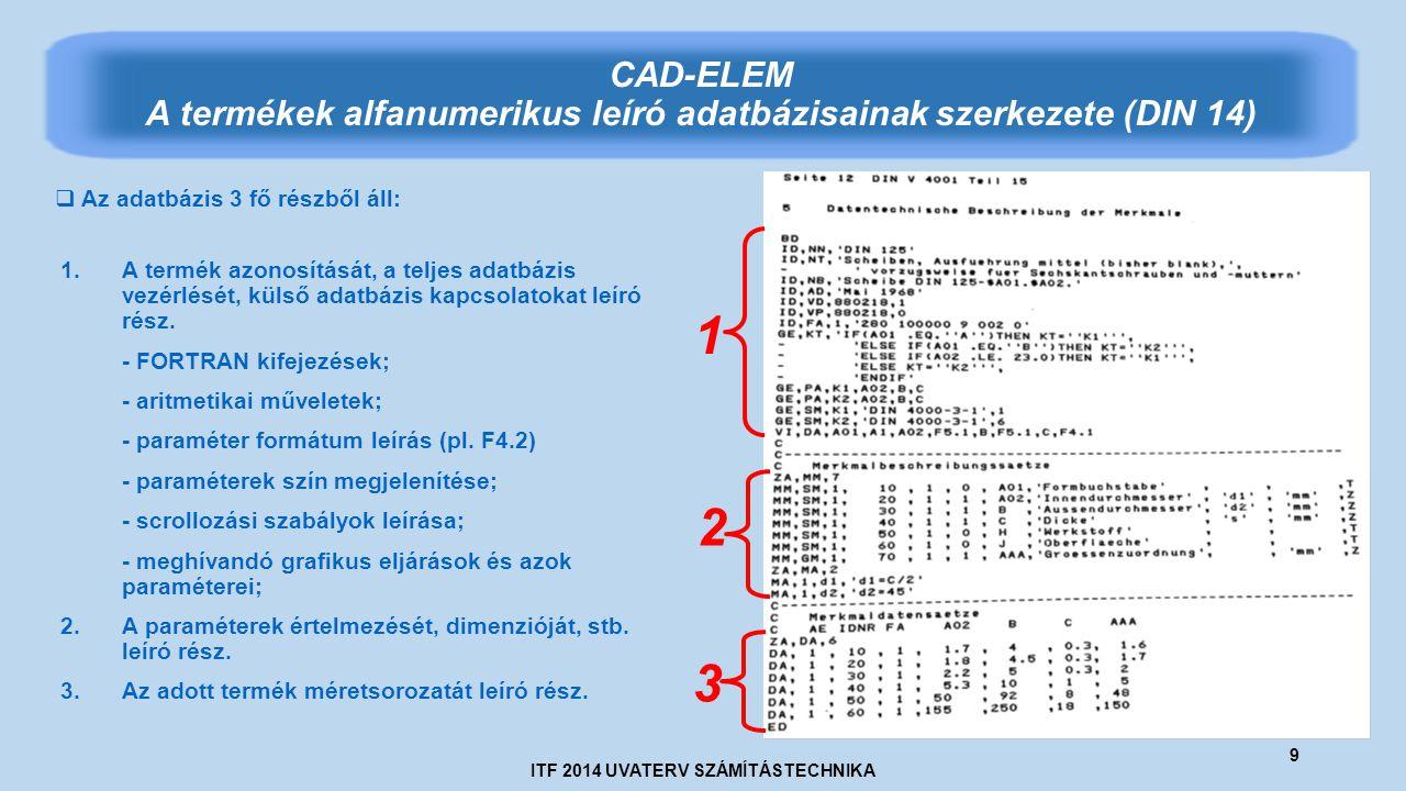 ITF 2014 UVATERV SZÁMÍTÁSTECHNIKA 9 CAD-ELEM A termékek alfanumerikus leíró adatbázisainak szerkezete (DIN 14) 1 2 3  Az adatbázis 3 fő részből áll: 1.A termék azonosítását, a teljes adatbázis vezérlését, külső adatbázis kapcsolatokat leíró rész.