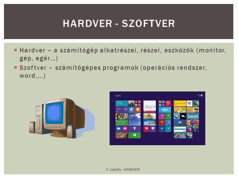  Hardver – a számítógép alkatrészei, részei, eszközök (monitor, gép, egér…)  Szoftver – számítógépes programok (operációs rendszer, word,…) HARDVER