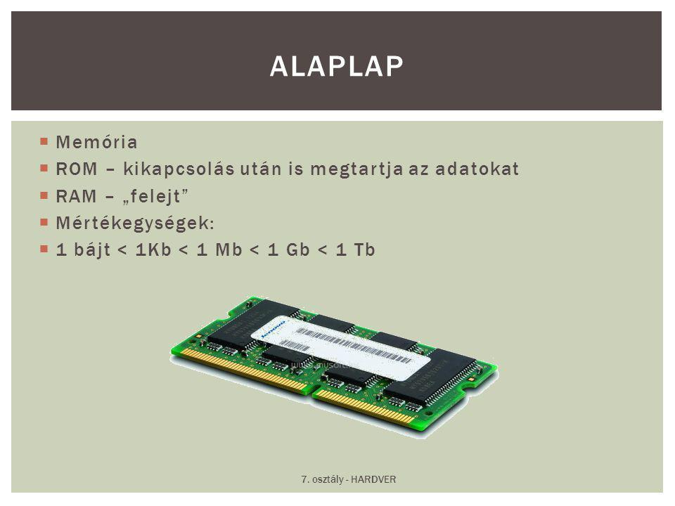 """ Memória  ROM – kikapcsolás után is megtartja az adatokat  RAM – """"felejt""""  Mértékegységek:  1 bájt < 1Kb < 1 Mb < 1 Gb < 1 Tb ALAPLAP 7. osztály"""