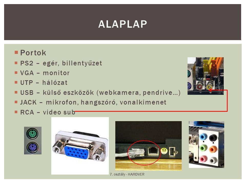  Portok  PS2 – egér, billentyűzet  VGA – monitor  UTP – hálózat  USB – külső eszközök (webkamera, pendrive…)  JACK – mikrofon, hangszóró, vonalk