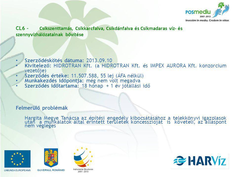 CL6 - Csíkszenttamás, Csíkkarcfalva, Csíkdánfalva és Csíkmadaras víz- és szennyvízhálózatainak bővítése Szerződéskötés dátuma: 2013.09.10 Kivitelező: HIDROTRAN Kft.