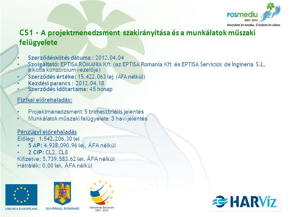 CS1 - A projektmenedzsment szakirányítása és a munkálatok műszaki felügyelete Szerződéskötés dátuma : 2012.04.04 Szolg áltató : EPTISA ROMANIA Kft.