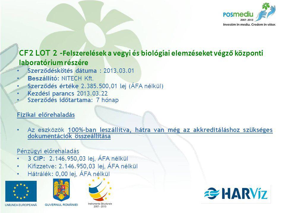 CF2 LOT 2 - Felszerelések a vegyi és biológiai elemzéseket végző központi laboratórium részére Szerződéskötés dátuma : 2013.03.01 Beszállító : NITECH Kft.