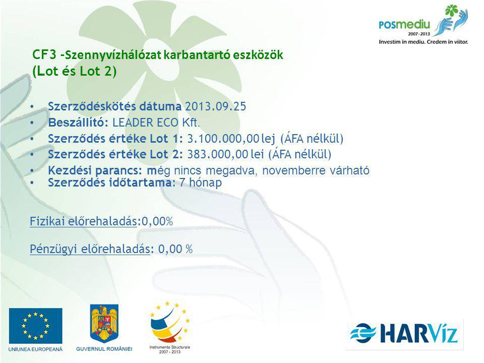 CF3 - Szennyvízhálózat karbantartó eszközök (L ot és Lot 2) Szerződéskötés dátuma 2013.09.25 Beszállító : LEADER ECO Kft.