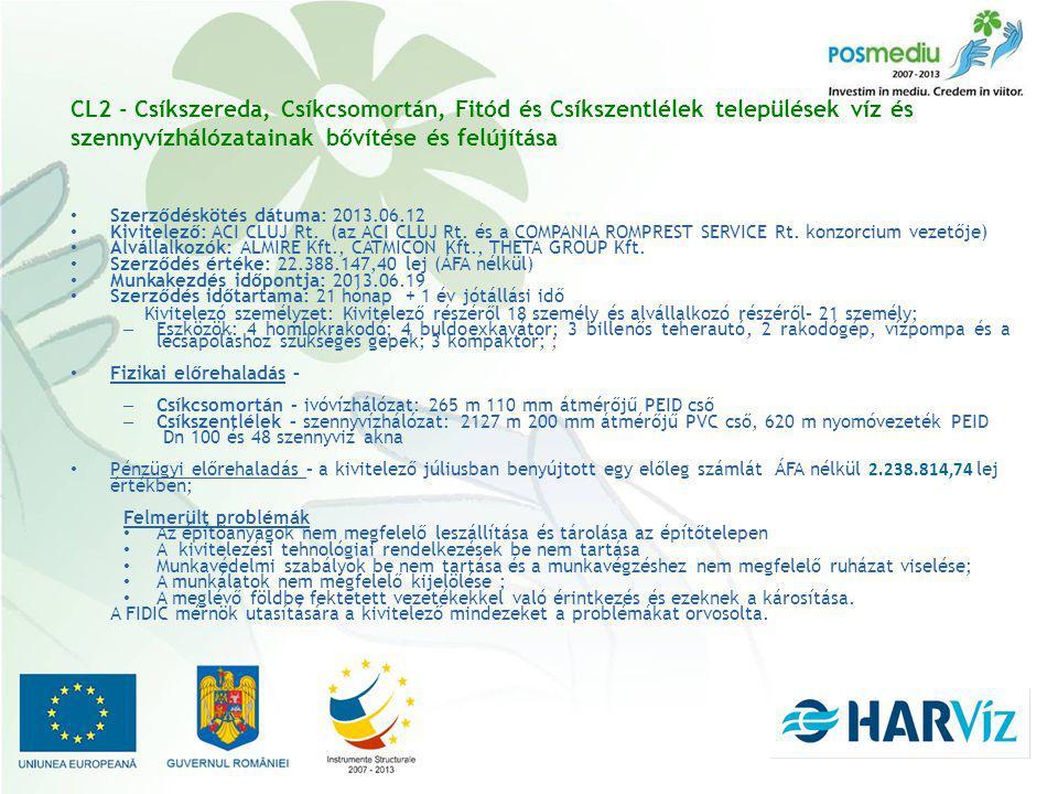 CL2 - Csíkszereda, Csíkcsomortán, Fitód és Csíkszentlélek települések víz és szennyvízhálózatainak bővítése és felújítása Szerződéskötés dátuma: 2013.06.12 Kivitelező: ACI CLUJ Rt.
