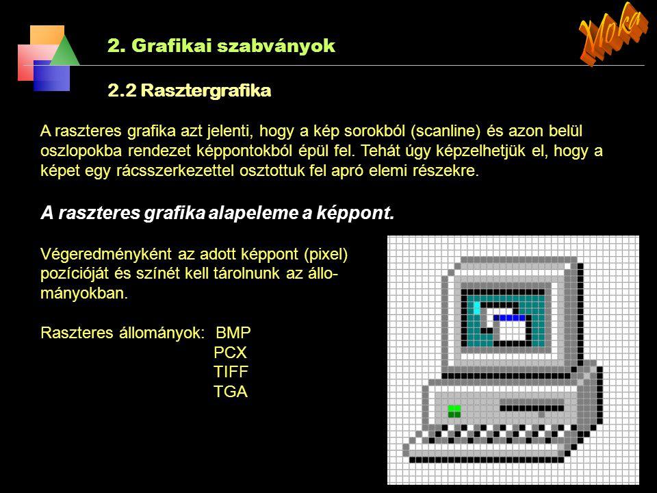 2. Grafikai szabványok  3D Core Graphics System alacsony szintű, eszközfüggetlen grafikus rendszer (1977)  SRGP Simple Raster Graphics Package  GKS