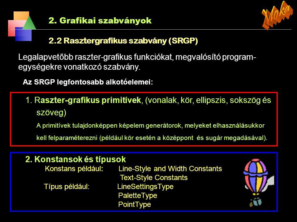 2. Grafikai szabványok 2.2 Rasztergrafika A raszteres grafika azt jelenti, hogy a kép sorokból (scanline) és azon belül oszlopokba rendezet képpontokb