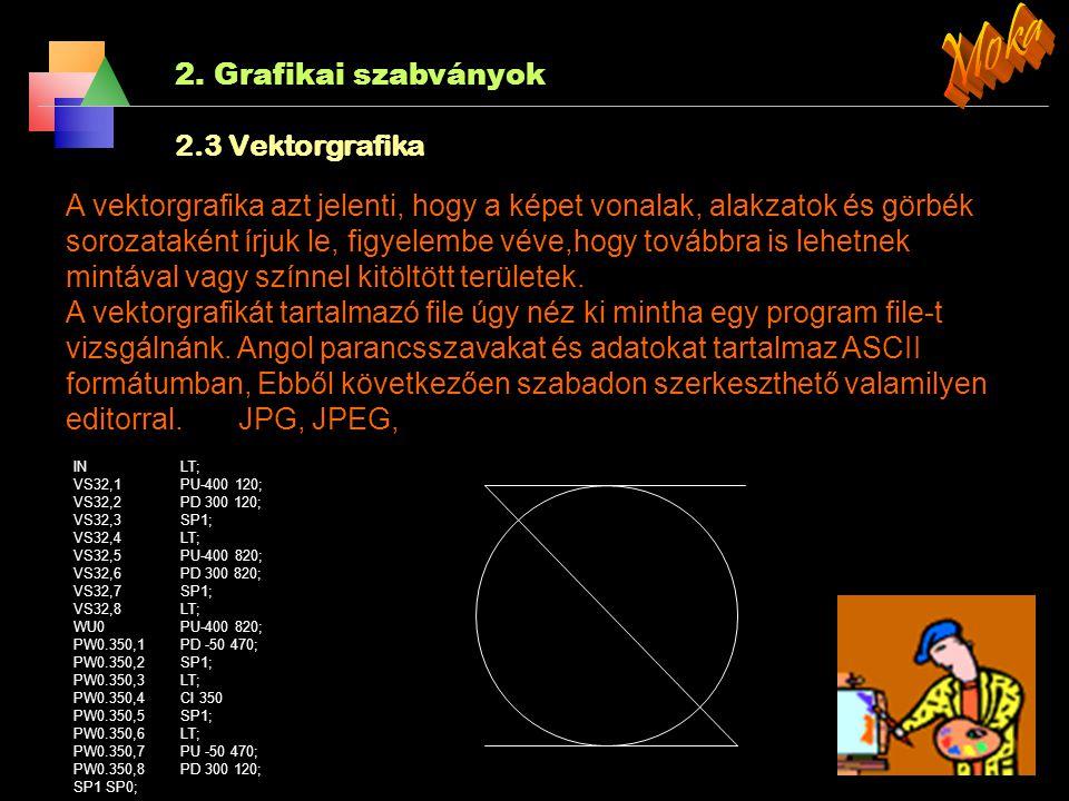 2. Grafikai szabványok 2.2 Rasztergrafikus szabvány (SRGP) 4. Vonal fajták és vastagságok Fajták: Vastagság: 0 SolidLn 1 NormWidth 1 DottedLn 3 ThickW