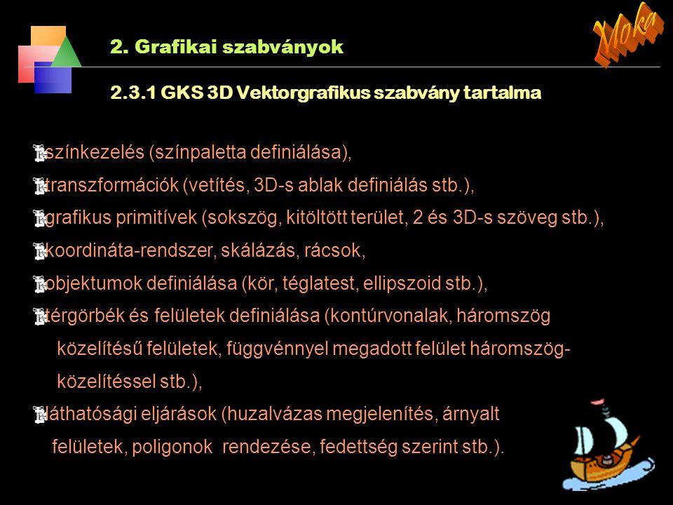 2. Grafikai szabványok 2.3.1 GKS és a GKS-3D: Az első nemzetközi grafikai szabvány a német kezdeményezés alapján kidolgozott grafikus magrendszer (Gra