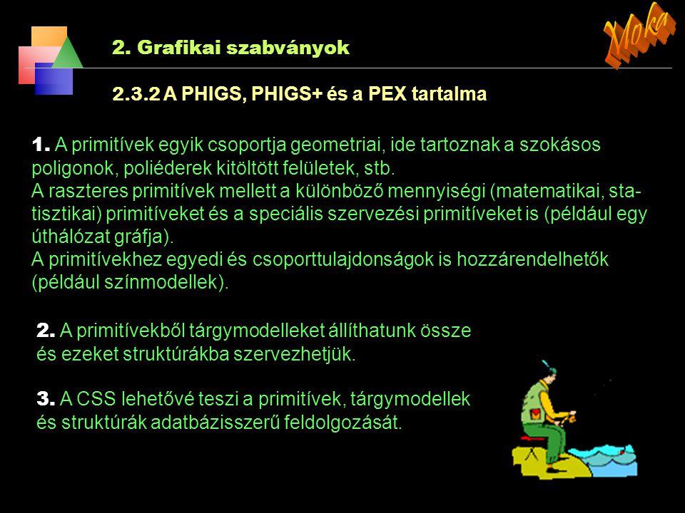 2. Grafikai szabványok 2.3.2 A PHIGS, PHIGS+ és a PEX A szabvány nevéből adódóan a PHIGS programozók hierarchikus, inter- aktív grafikus rendszere. A