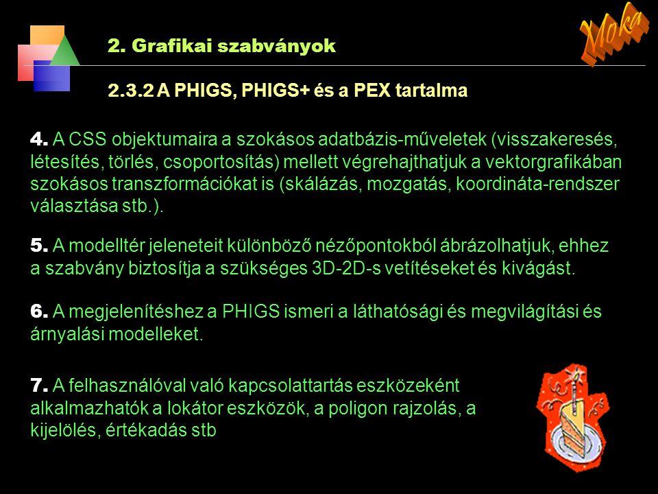 2. Grafikai szabványok 2.3.2 A PHIGS, PHIGS+ és a PEX tartalma 1. A primitívek egyik csoportja geometriai, ide tartoznak a szokásos poligonok, poliéde