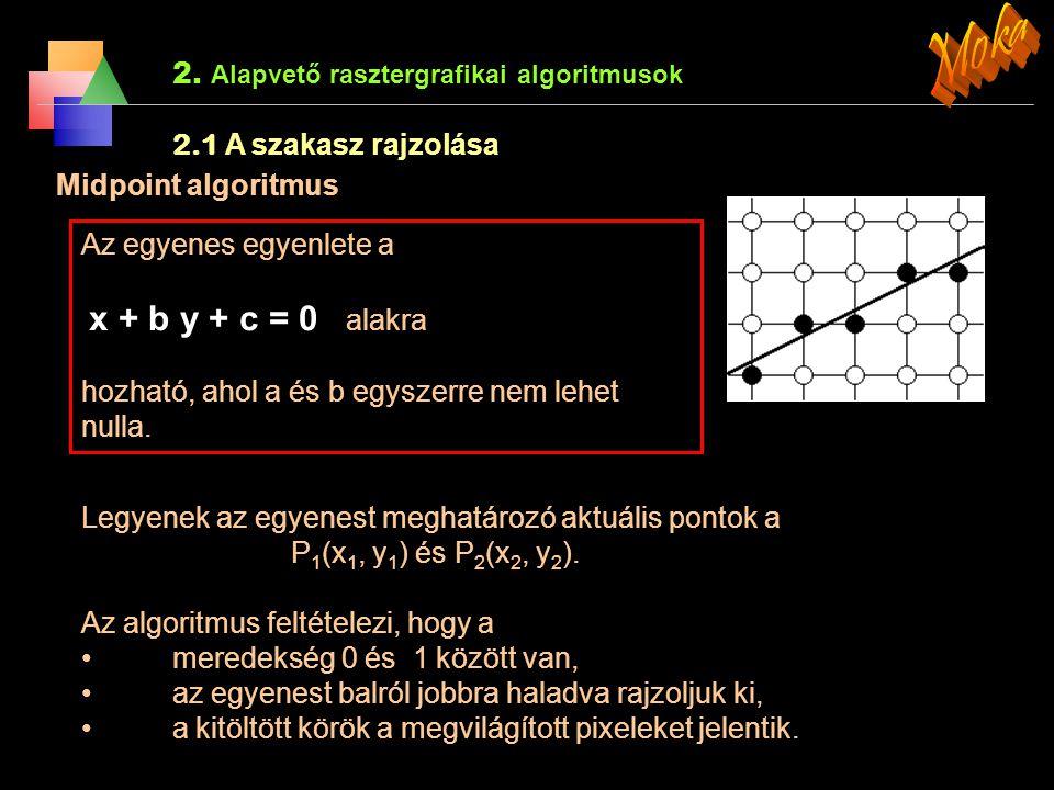 2. Alapvető rasztergrafikai algoritmusok 2.1 A szakasz rajzolása Az egyenes r(t) = r 0 + tv skalár vektor el állításán alapszik A(x, y ) és B(x, y ) p