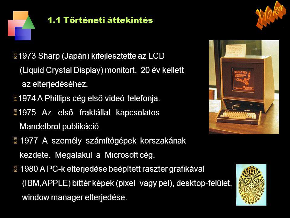 1.1 Történeti áttekintés  1950. A Whirlwind Computer által kifejlesztett első valósidejű grafikus megjelenítő  1963. IVAN E. SUTHERLAND 'Sketchpad'