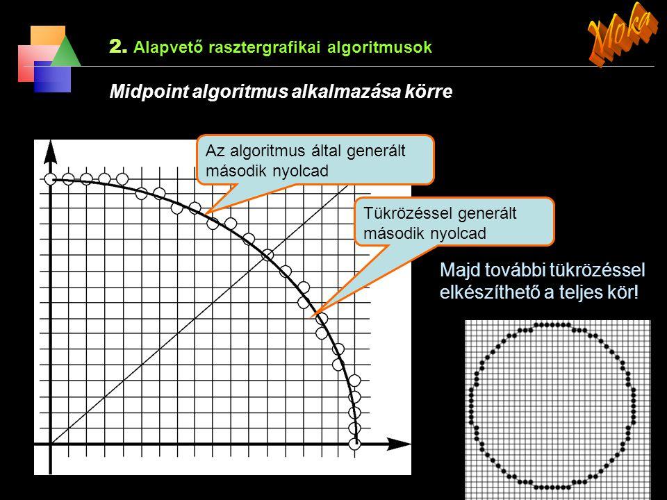 2. Alapvető rasztergrafikai algoritmusok Midpoint algoritmus alkalmazása körre Legyen az aktuális kivilágított pixel a P(x p, y p ), hogyan tovább? A