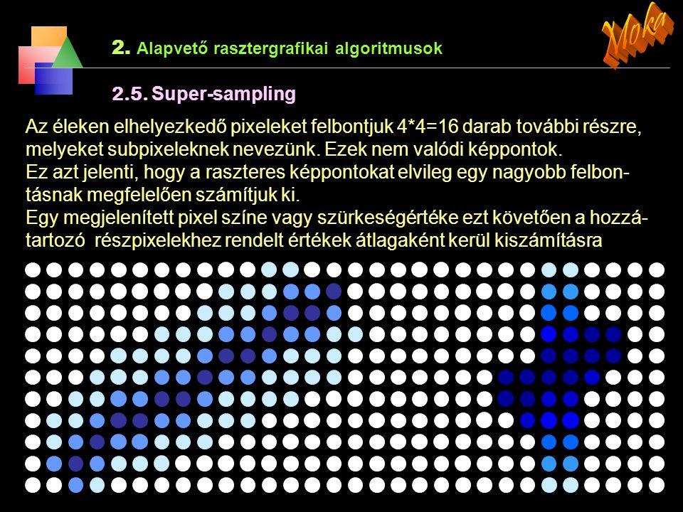 2. Alapvető rasztergrafikai algoritmusok 2.4. Élsimítás (Anti-aliasing) ) A szakasz rajzoló alap algoritmusok a ferde egyeneseket töredezetten ábrázol