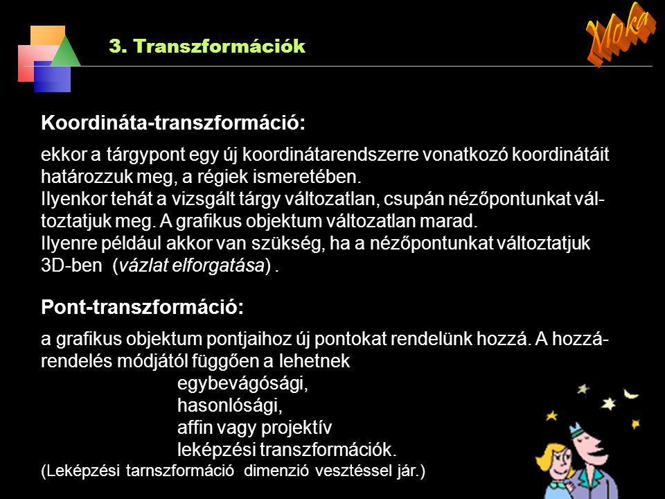3. Transzformációk A r (x, y, z) → r′ (x′, y′, z′) hozzárendelést 3D-s transzformációnak nevezzük, ahol 1. x′ = f (x, y, z) 2. y′ = f (x, y, z) 3. z′