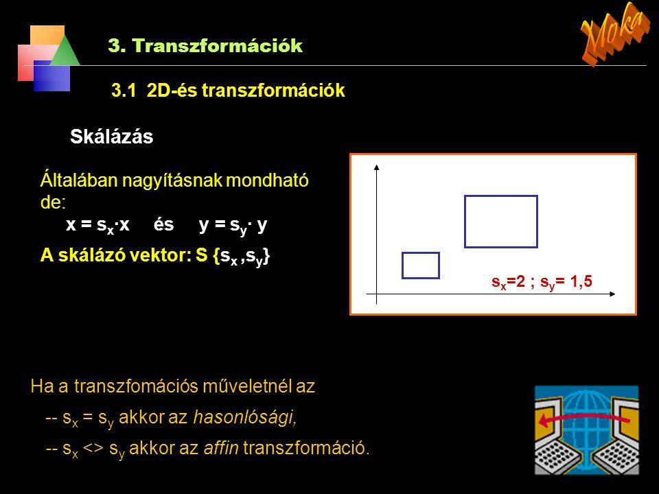 3. Transzformációk 3.1 2D-és transzformációk Eltolás E A pont új koordinátái egy eltolási vek- torral kerülnek odébb: A A'A' β Elforgatás Az alakzat p