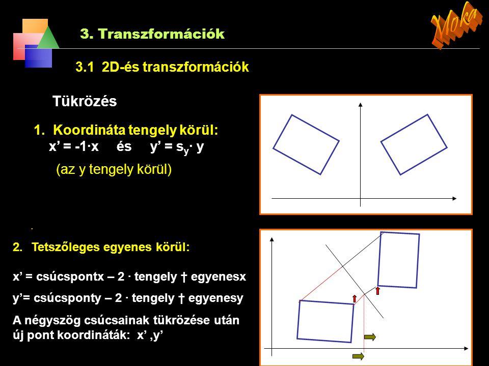 3. Transzformációk 3.1 2D-és transzformációk Skálázás Általában nagyításnak mondható de: x = s x ·x és y = s y · y A skálázó vektor: S {s x,s y } Ha a