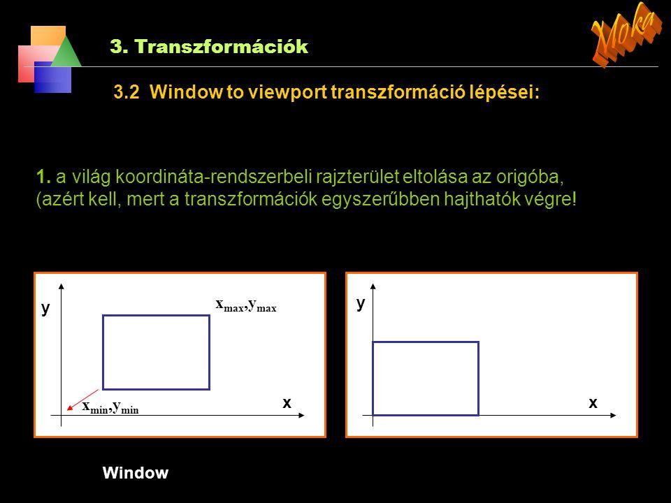 3. Transzformációk 3.2 Window to viewport transzformáció A valós világ leképezése a rajzolási területre. Például: elfogatjuk a 3D-és vázlatunkat, nagy