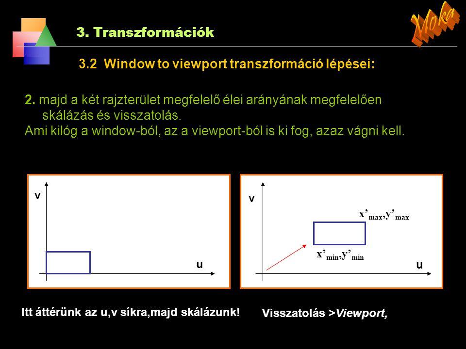 3. Transzformációk 3.2 Window to viewport transzformáció lépései: y y x x 1. a világ koordináta-rendszerbeli rajzterület eltolása az origóba, (azért k