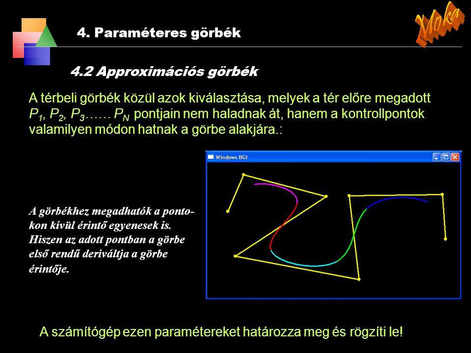 4. Paraméteres görbék A térbeli görbék közül azok kiválasztása, melyek a tér előre megadott P 1, P 2, P 3 …… P N kontroll pontjain áthaladnak. A felad