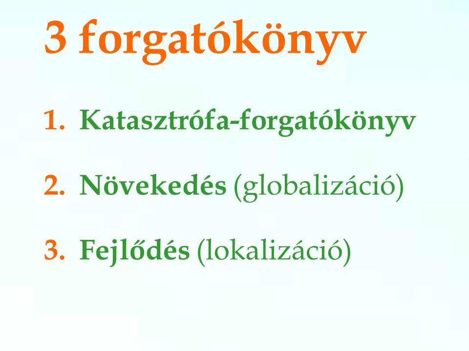 3 forgatókönyv 1.Katasztrófa-forgatókönyv 2. Növekedés (globalizáció) 3. Fejlődés (lokalizáció)