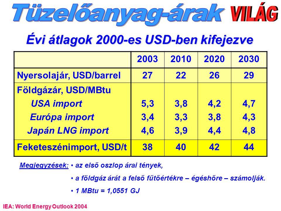 IEA: World Energy Outlook 2004 2003201020202030 Nyersolajár, USD/barrel27222629 Földgázár, USD/MBtu USA import Európa import Japán LNG import 5,3 3,4 4,6 3,8 3,3 3,9 4,2 3,8 4,4 4,7 4,3 4,8 Feketeszénimport, USD/t38404244 Évi átlagok 2000-es USD-ben kifejezve Megjegyzések: az első oszlop árai tények, a földgáz árát a felső fűtőértékre – égéshőre – számolják.