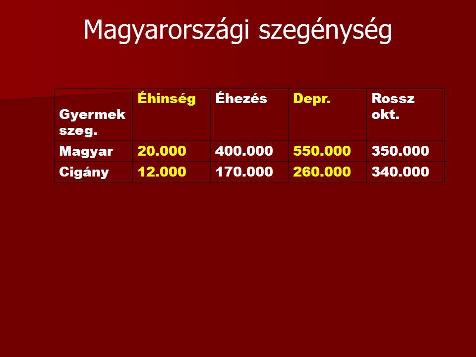 Magyarországi szegénység Gyermek szeg. ÉhinségÉhezésDepr.Rossz okt. Magyar20.000400.000550.000350.000 Cigány12.000170.000260.000340.000