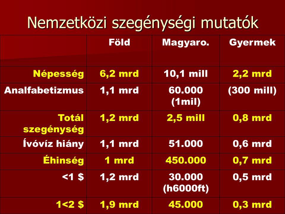 Nemzetközi szegénységi mutatók FöldMagyaro.Gyermek Népesség6,2 mrd10,1 mill2,2 mrd Analfabetizmus1,1 mrd60.000 (1mil) (300 mill) Totál szegénység 1,2 mrd2,5 mill0,8 mrd Ívóvíz hiány1,1 mrd51.0000,6 mrd Éhinség1 mrd450.0000,7 mrd <1 $1,2 mrd30.000 (h6000ft) 0,5 mrd 1<2 $1,9 mrd45.0000,3 mrd