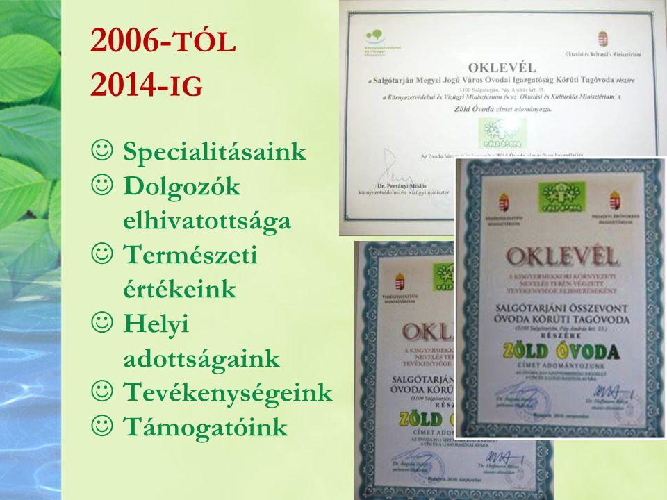 2006- TÓL 2014- IG Specialitásaink Dolgozók elhivatottsága Természeti értékeink Helyi adottságaink Tevékenységeink Támogatóink