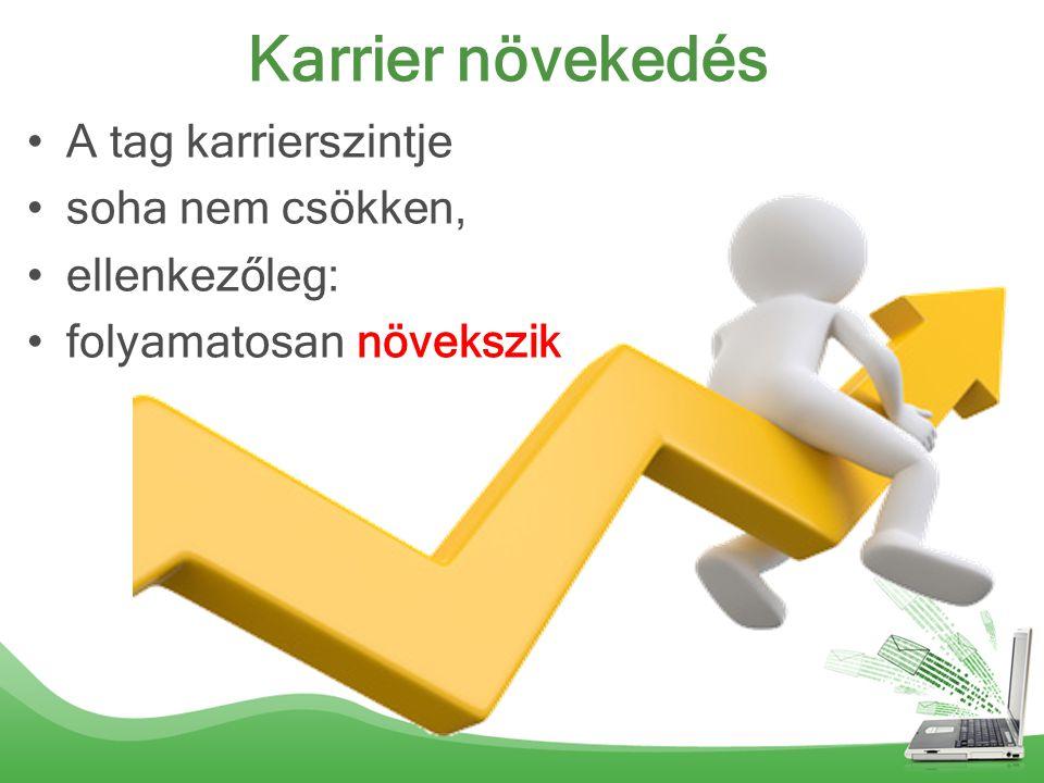 Karrier növekedés A tag karrierszintje soha nem csökken, ellenkezőleg: folyamatosan növekszik