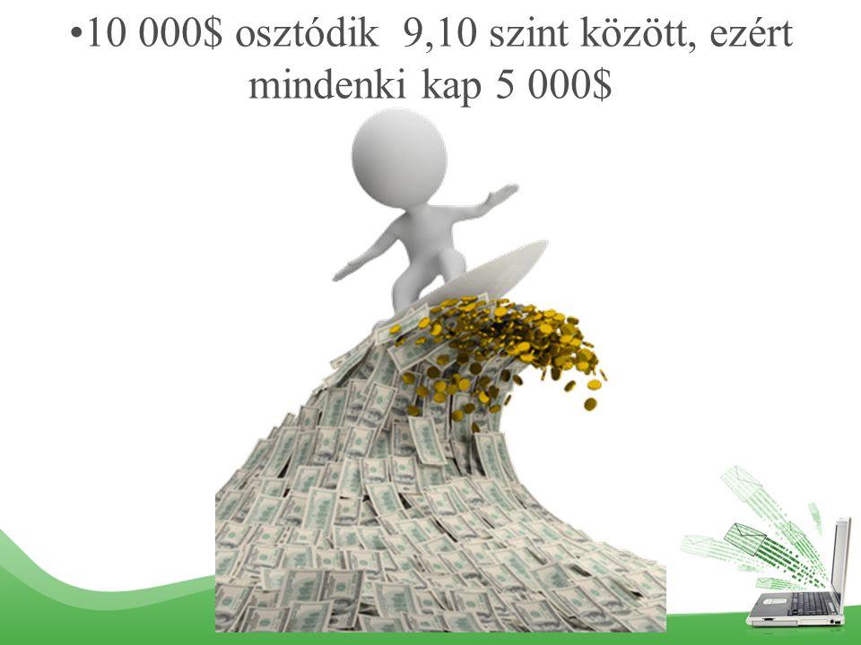 10 000$ osztódik 9,10 szint között, ezért mindenki kap 5 000$