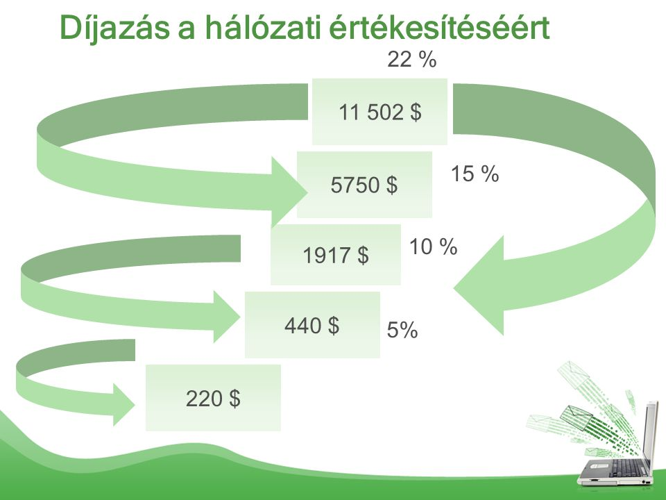 Díjazás a hálózati értékesítéséért 220 $ 440 $ 1917 $ 5750 $ 11 502 $ 5% 22 % 15 % 10 %