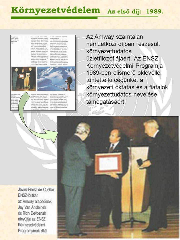 Környezetvédelem Az első díj: 1989. Az Amway számtalan nemzetközi díjban részesült környezettudatos üzletfilozófiájáért. Az ENSZ Környezetvédelmi Prog