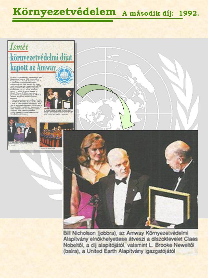 Környezetvédelem A második díj: 1992.