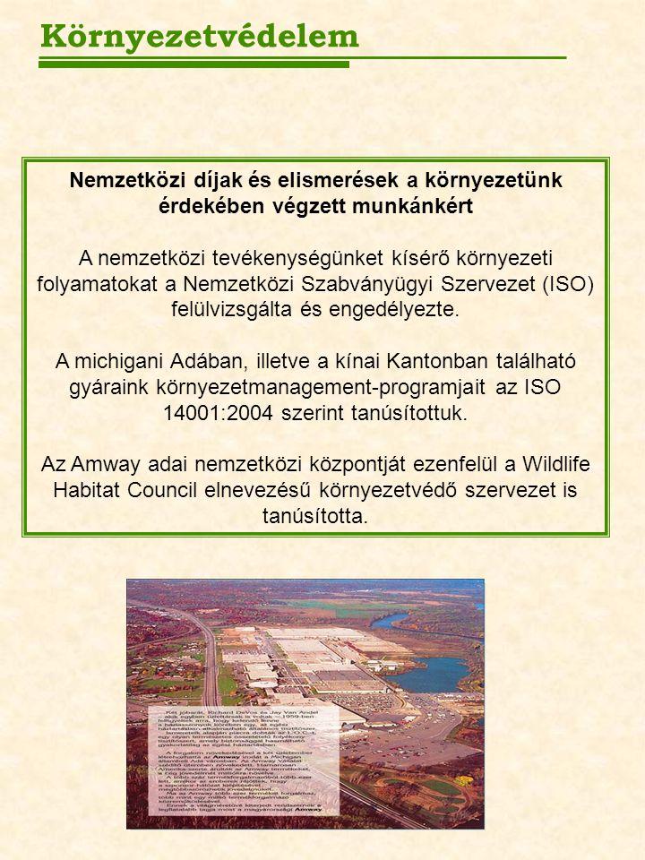 Nemzetközi díjak és elismerések a környezetünk érdekében végzett munkánkért A nemzetközi tevékenységünket kísérő környezeti folyamatokat a Nemzetközi Szabványügyi Szervezet (ISO) felülvizsgálta és engedélyezte.
