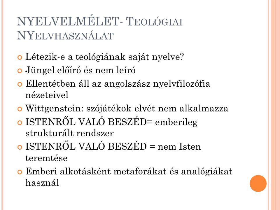 NYELVELMÉLET- T EOLÓGIAI NY ELVHASZNÁLAT Létezik-e a teológiának saját nyelve.