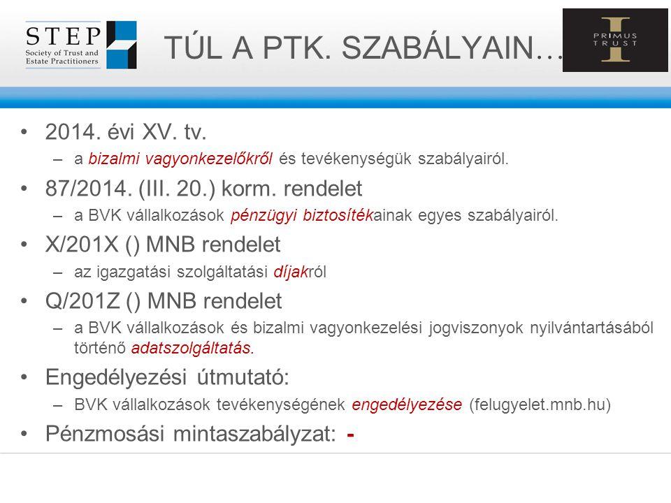 TÚL A PTK. SZABÁLYAIN … 2014. évi XV. tv. –a bizalmi vagyonkezelőkről és tevékenységük szabályairól. 87/2014. (III. 20.) korm. rendelet –a BVK vállalk