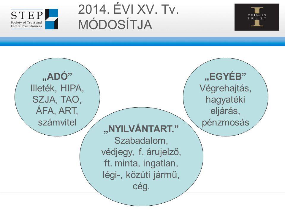 """2014. ÉVI XV. Tv. MÓDOSÍTJA """"ADÓ"""" Illeték, HIPA, SZJA, TAO, ÁFA, ART, számvitel """"NYILVÁNTART."""" Szabadalom, védjegy, f. árujelző, ft. minta, ingatlan,"""