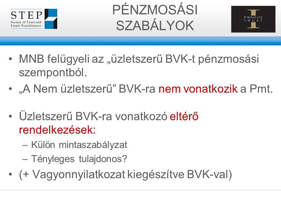 """PÉNZMOSÁSI SZABÁLYOK MNB felügyeli az """"üzletszerű BVK-t pénzmosási szempontból. """"A Nem üzletszerű"""" BVK-ra nem vonatkozik a Pmt. Üzletszerű BVK-ra vona"""