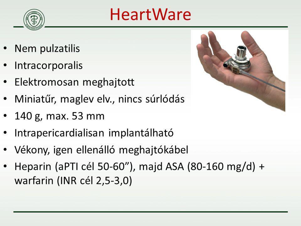 Nem pulzatilis Intracorporalis Elektromosan meghajtott Miniatűr, maglev elv., nincs súrlódás 140 g, max. 53 mm Intrapericardialisan implantálható Véko