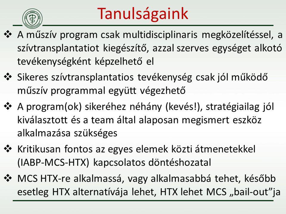 A műszív program csak multidisciplinaris megközelítéssel, a szívtransplantatiot kiegészítő, azzal szerves egységet alkotó tevékenységként képzelhető