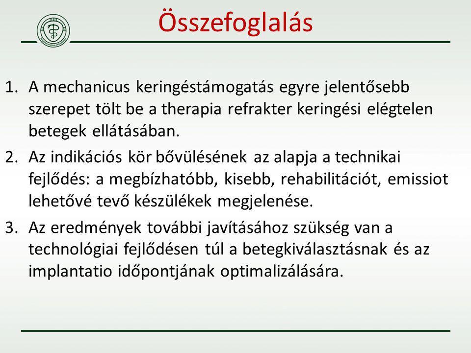 1.A mechanicus keringéstámogatás egyre jelentősebb szerepet tölt be a therapia refrakter keringési elégtelen betegek ellátásában. 2.Az indikációs kör