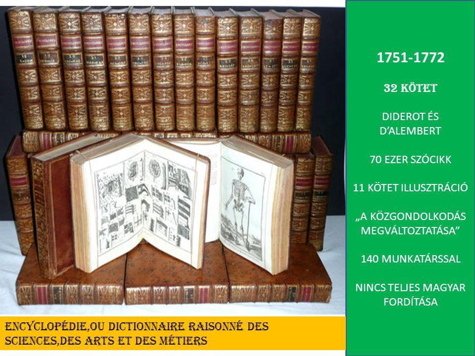 """1751-1772 32 KÖTET DIDEROT ÉS D'ALEMBERT 70 EZER SZÓCIKK 11 KÖTET ILLUSZTRÁCIÓ """"A KÖZGONDOLKODÁS MEGVÁLTOZTATÁSA 140 MUNKATÁRSSAL NINCS TELJES MAGYAR FORDÍTÁSA ENCYCLOPÉDIE,OU DICTIONNAIRE RAISONNÉ DES SCIENCES,DES ARTS ET DES MÉTIERS"""