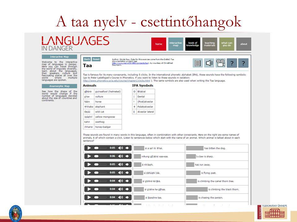A taa nyelv - csettintőhangok